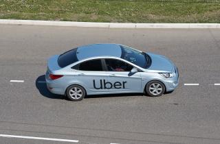 Uber car driving