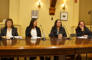 L-R Delia Opekokew, Justice Michelle O'Bonsawin, Beverly Jacobs, and Dianne Corbiere