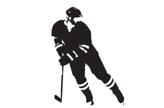 Hockey player in silhouette