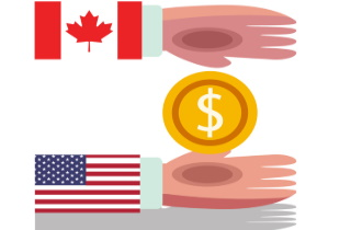 Canadian-American hands with coin