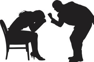 Man threatening woman