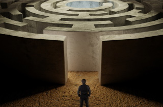 Man in front of maze