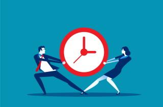 2 people pull on clock