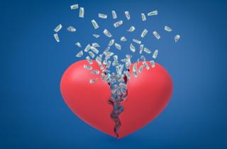 Broken heart with money