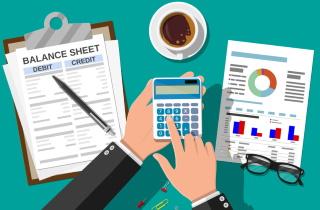 Accountant checks documents