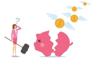 Woman with broken piggy bank