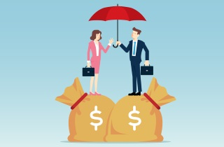 Businesswoman and man standing on money bags
