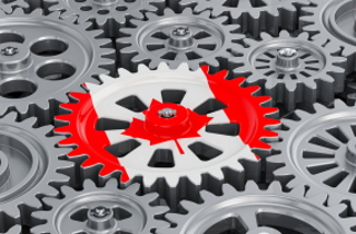 Canadian flag surrounded by gears