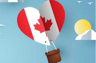 Hot Air Balloon with Canadian Flag