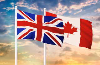 Union Jack and Maple Leaf flags overlapping
