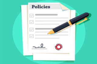 Policy form with pen