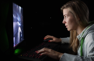 Woman playing online sports