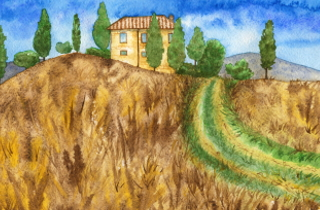 Painting of rural Italian villa