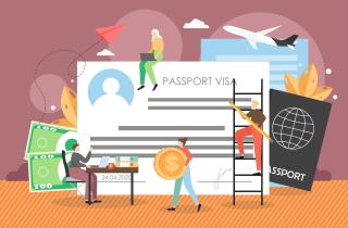 Immigration consultants working around giant passport