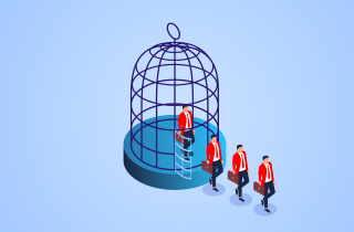 Men walking out of bird cage