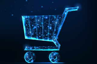 Electric blue grocery cart