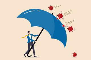 Man holding umbrella fending off COVID molecules