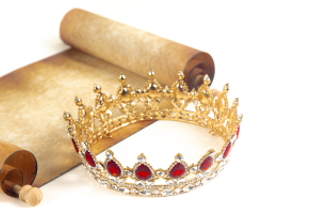 A crown by an antique scroll