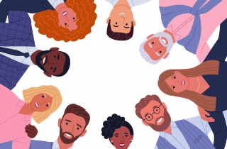 Diverse group of people in a circle
