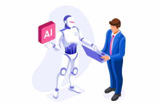 Robot and man in suit shaking hands