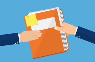 Two hands holding file folder