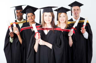 International students graduating