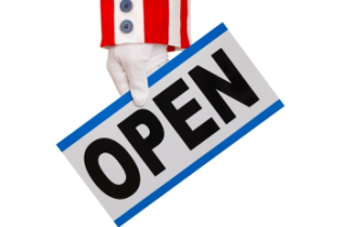 "Uncle Sam holding an ""open"" sign"