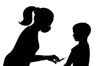 Silhouette of woman about to give child a needle