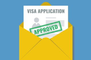 Visa application in envelope
