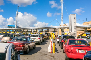 Traffic lineups at U.S. Mexico border crossing
