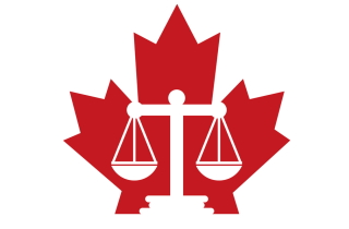 Scales of justice and Canadian flag