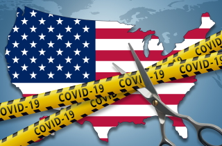 Map of U.S. with scissors cutting COVID-19 tapes