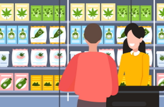 Customer in a cannabis store