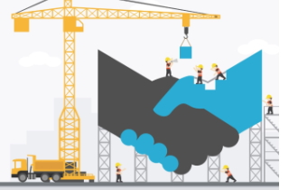 Construction crane building a handshake
