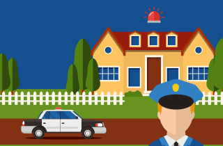 Policeman at front door of house