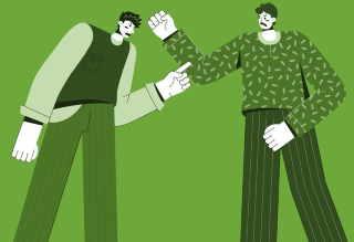 Two cartoon men debating