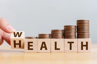 Blocks spelling health and wealth