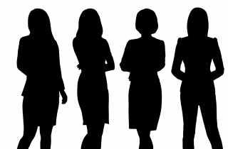 Four women in silhouette