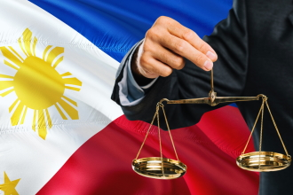 Flag of the Philippines with scales of justice