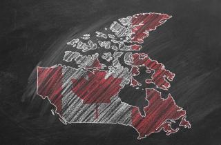 Map of Canada on a school chalkboard