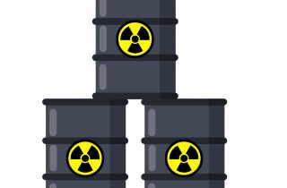 Three barrels of nuclear waste