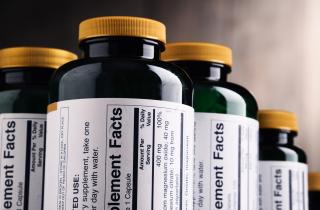 Labels on food supplement bottles