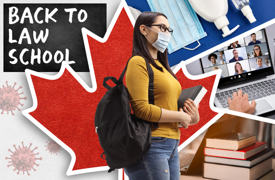 Woman wearing backpack and mask carries binder, with maple leaf and books in background