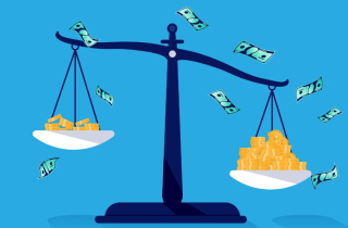 Uneven scales of justice holding money