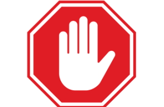 Hand palm up in stop sign