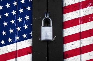 U.S. flag door with padlock
