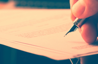 Fountain pen lying on a document