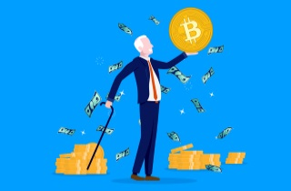 Older man with cane holding up Bitcoin