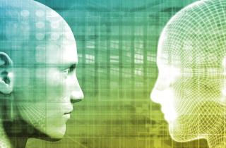 Man faces his digital counterpart