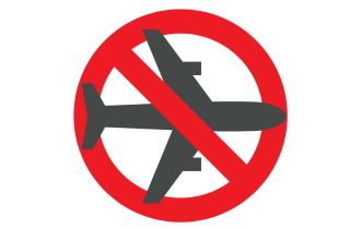 Stop sign with pic of airplane on it